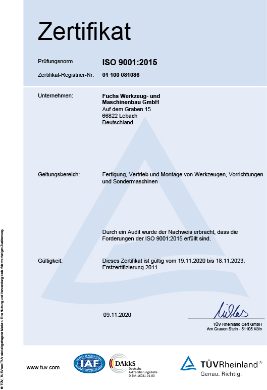 TUV Rheinland Group, Certificate