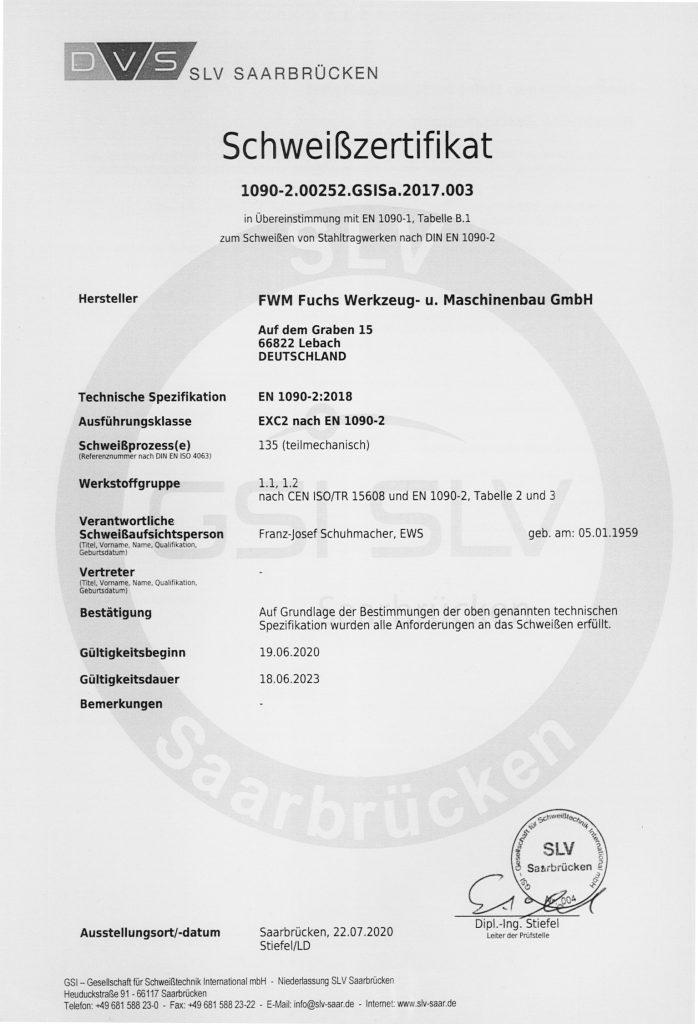 Schweißzertifikat 2020-2023