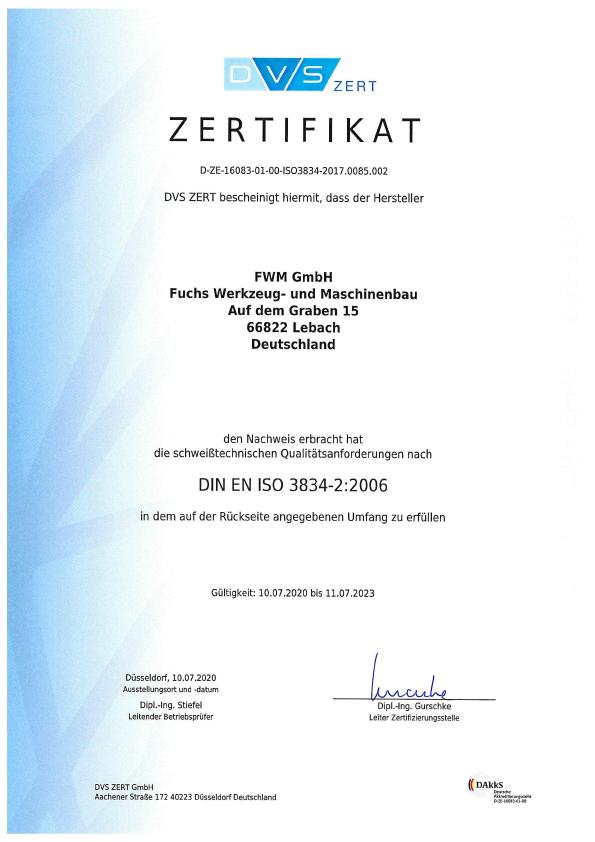 Zertifikat DIN EN ISO 3824-2 2006 2020-2023 DE