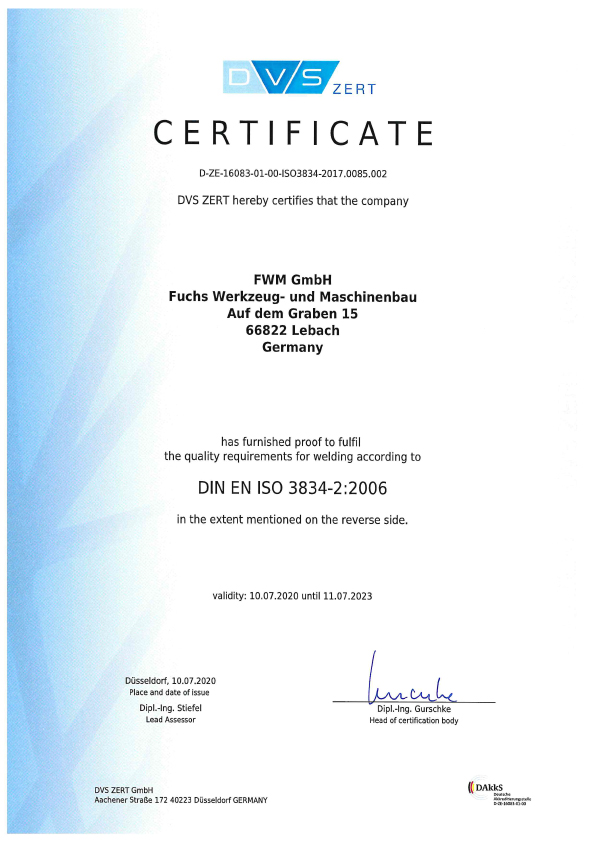 Zertifikat DIN EN ISO 3824-2 2006 2020-2023 ENG
